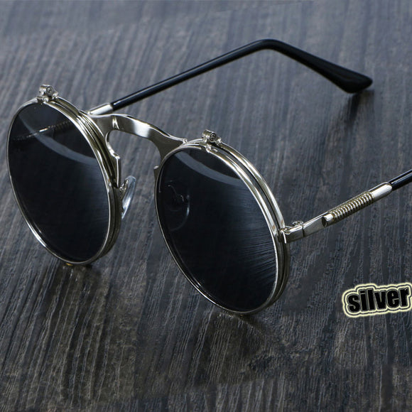 Style Retro Flip Circular Double Metal Sun Glasses Men