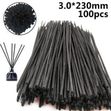 100pcs/set 3.0x230mm Reed Stick Black Rattan Home Fragrance Diffuser Aroma Scent