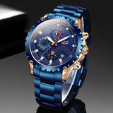 Top Brand LIGE Men Watches Fashion Blue Stainless Steel Waterproof Sport  Quartz Clock  Chronograph
