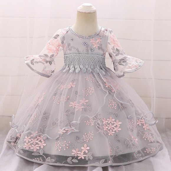 Baby Girl Dress Long Sleeve 1st Birthday  Princess Baptism Dress 3 9 Month