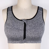 Plus Size Top Women Zipper Sports Bra Fitness Athletic Running Yoga 5XL