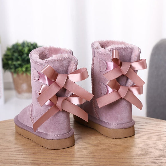Fashion High Quality Children Winter Snow Boots Genuine Leather Boots .