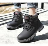 Ankle Boots Women Winter Leather Plush Warm Waterproof Short Motorcycle Boots
