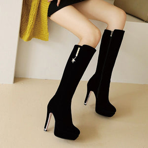 Knee High Boots Women Fashion Thin High Heel Platform .