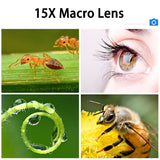 TOKOHANSUN Phone Lens kit HD 5K Super Wide Angle & 15x Super Macro Lens HD Camera Lentes for iPhone 7 8 Plus Xiaomi cellphone