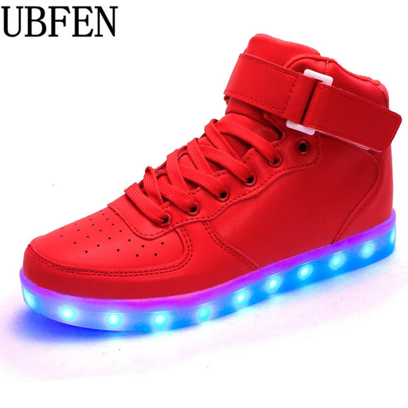 LED Men shoes lLuminou high glowing with Usb charge