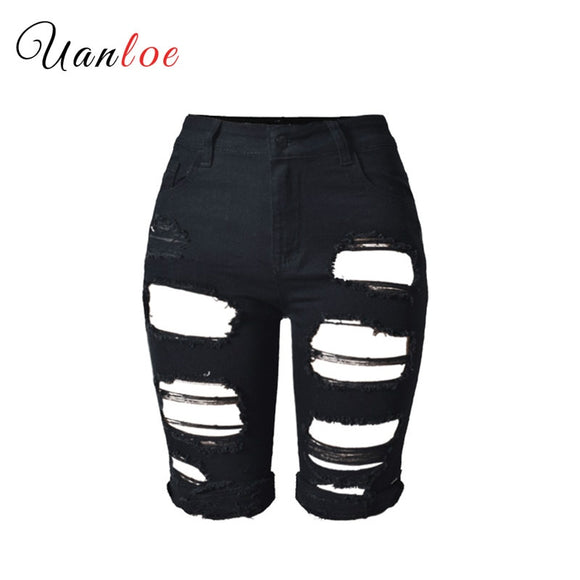 Plus Size Knee Length Black Shorts Women