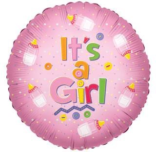 """It's a girl"" baby balloon ad on for your baby gift basket."