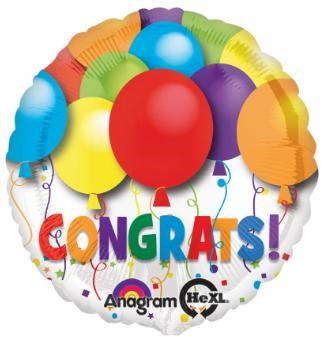 "Balloon ad on for your gift basket that reads ""Congrats"""