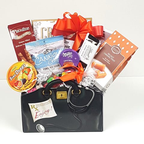A doctor's bag get well gift basket brimming with just the right prescription of sweet treats.