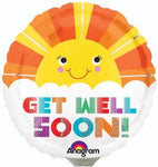 "Balloon ad on for your thoughtful gift basket that reads ""Get Well Soon"""