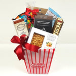 A beautiful sweet & salty gift basket filled with truffles, peanut brittle, wafer rolls, jelly beans, toffee peanuts and sweet potato chips.