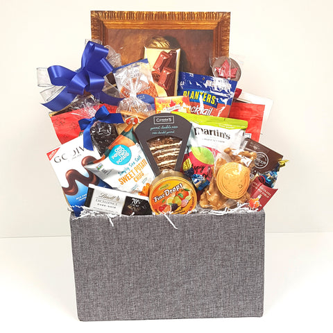 A sweet & salty gift basket loaded with Canada's Finest gourmet chocolate pizza, European chocolates, peanut brittle, Cookie It Up shortbread, fine candy drops, Godiva chocolates, crunch cookies, cocktail peanuts, Martin's apple crisps and lots more.