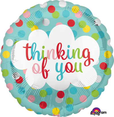"Balloon ad on for your thoughtful gift basket that reads ""Thinking of You"""
