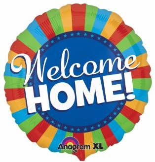 "Balloon ad on for your housewarming gift basket that reads ""Welcome Home"""