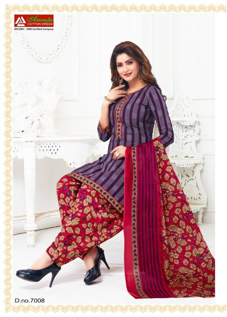 Stylish Cotton Printed Dress Material With Dupatta Set