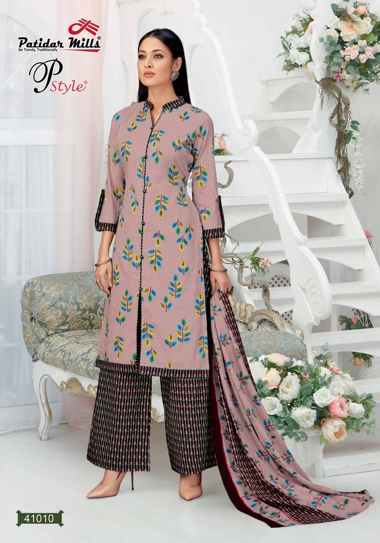 Stylish Cotton Pink Printed Dress Material And Dupatta Set