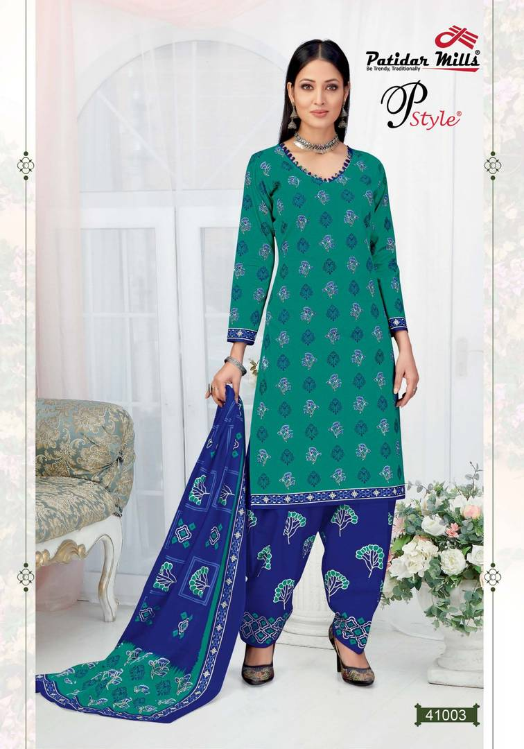 Stylish Cotton Green Printed Dress Material And Dupatta Set