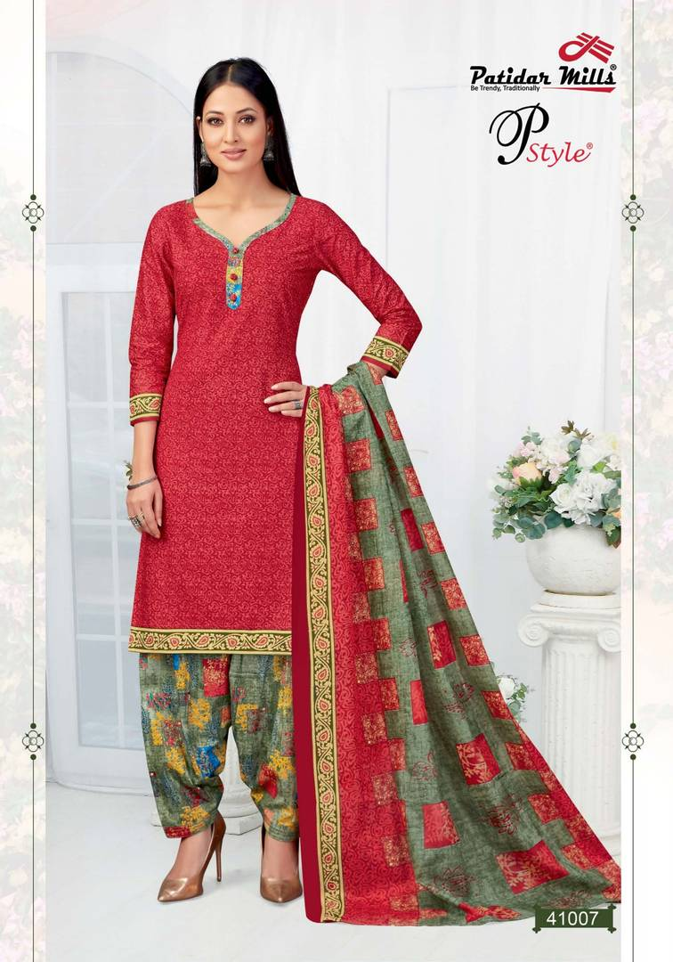 Stylish Cotton Red Printed Dress Material And Dupatta Set