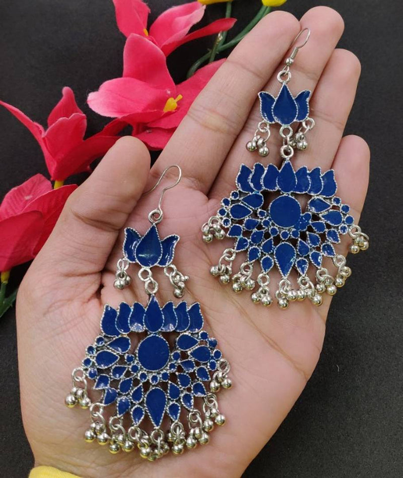 Fashionable Blue Meena Lotus Shape Earrings for Women and Girls