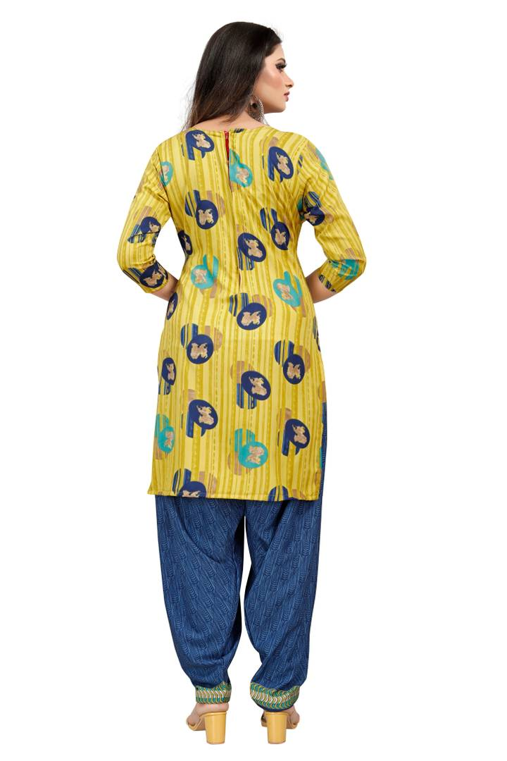Women's Beautiful Yellow Printed Crepe Dress Material with Dupatta