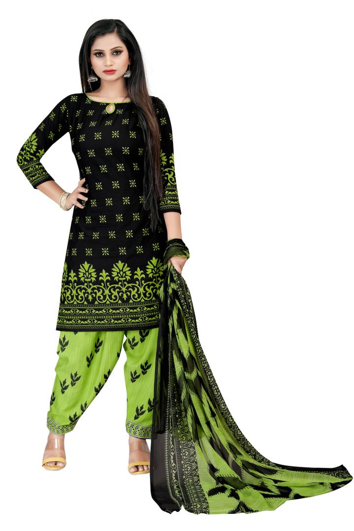 Women's Beautiful Black Printed Crepe Dress Material with Dupatta