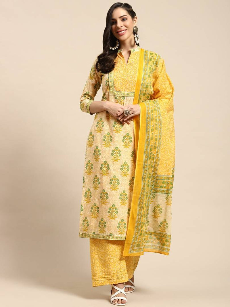 Women's  Printed  Multicoloured Cotton Dress Material with Dupatta
