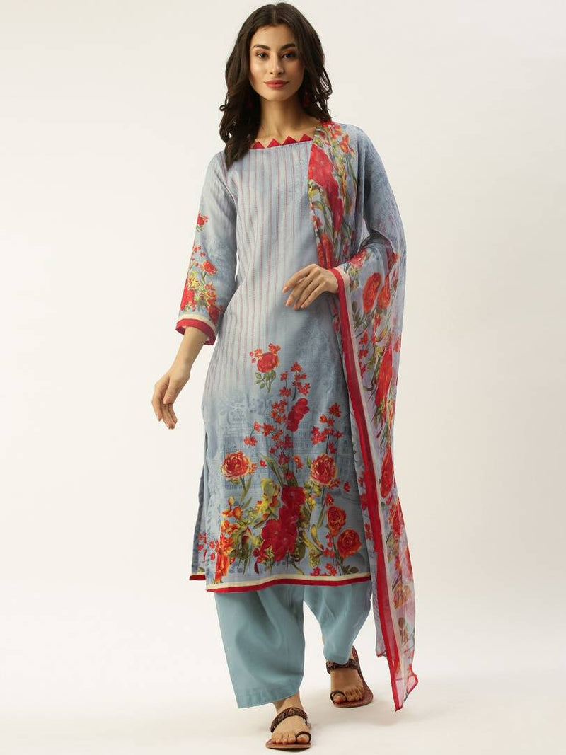 Women's  Printed  Multicoloured Cotton Blend Dress Material with Dupatta