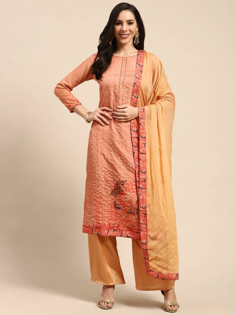 Women's  Embroidered  Multicoloured Cotton Dress Material with Dupatta