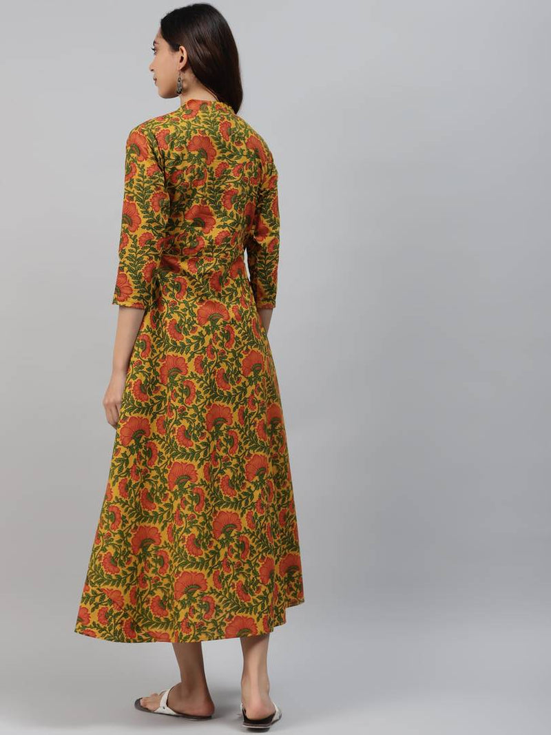 Alluring Yellow Cotton Floral Print Anarkali Kurta For Women