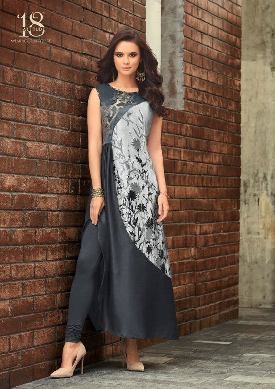 Grey Printed Long Satin Kurti