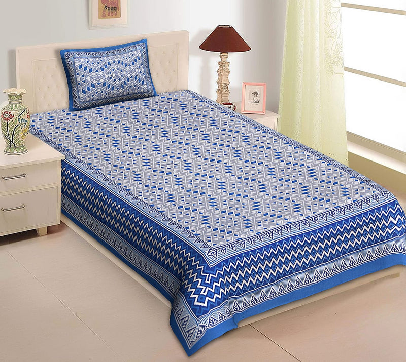 Cotton Single Bedsheet Dark Blue with 1 pillow