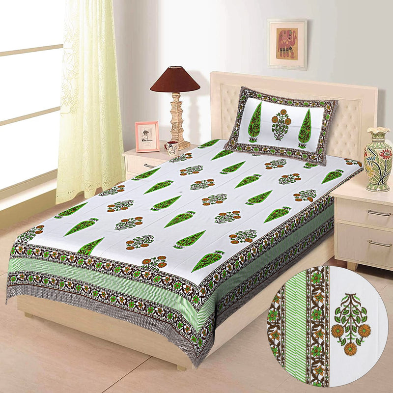 White and Green cotton bedsheet single bed