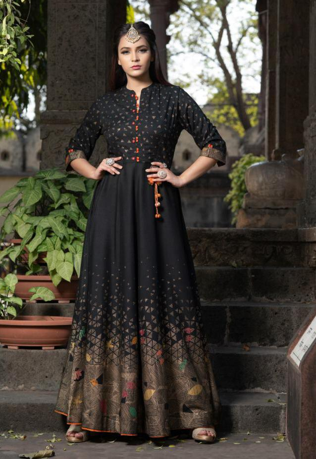 Muslin Printed Gown In Black Colour