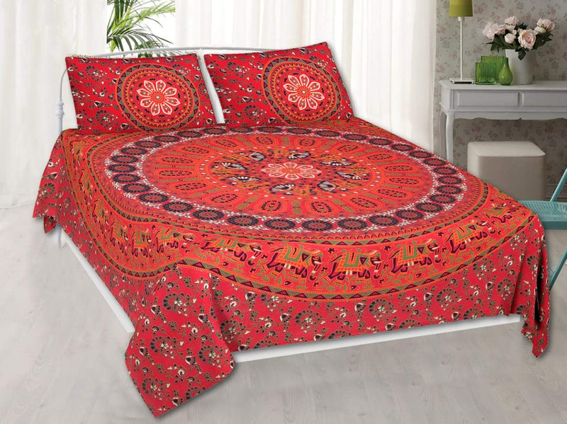 Cotton Barmeri Printed Red Double  Bedsheet