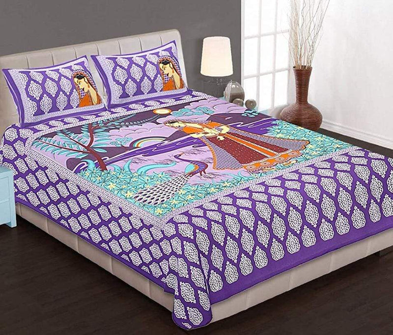 Cotton Rajasthani Printed Purple Double Bedsheet