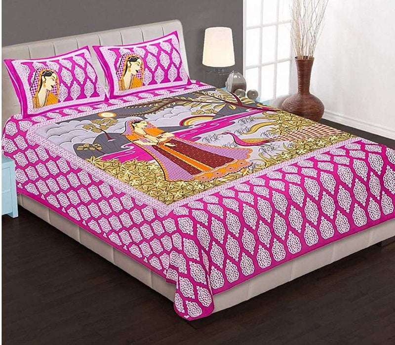 Cotton Rajasthani Printed Pink Double Bedsheet