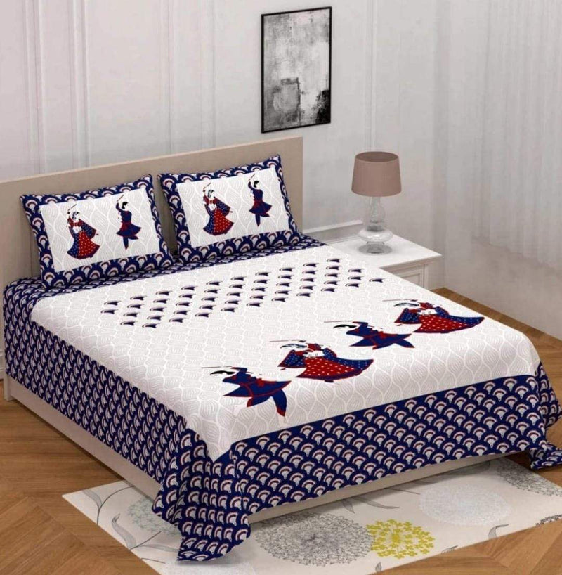 Cotton Rajasthani Printed Cotton White Blue Double Bedsheet