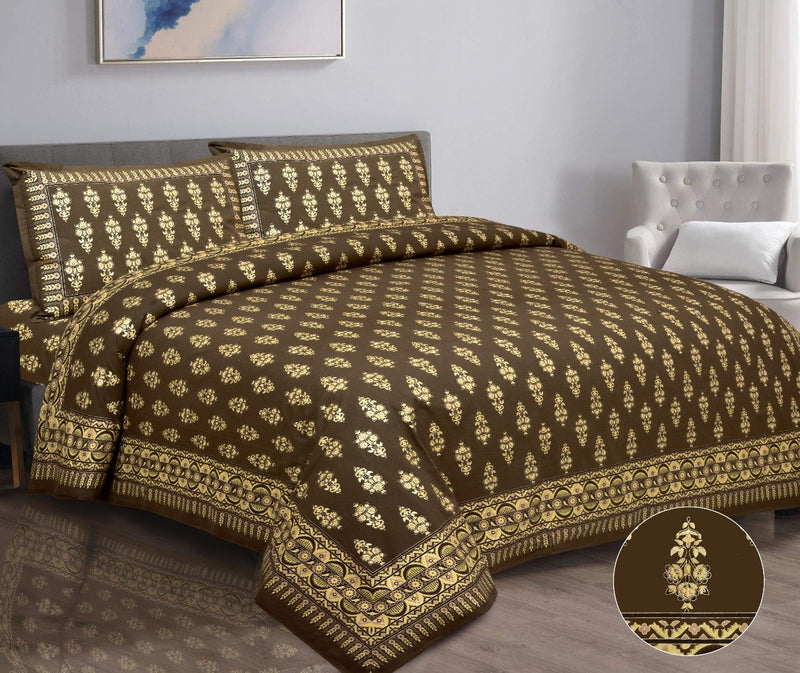 Cotton Gold Printed Brown Double Bedsheet