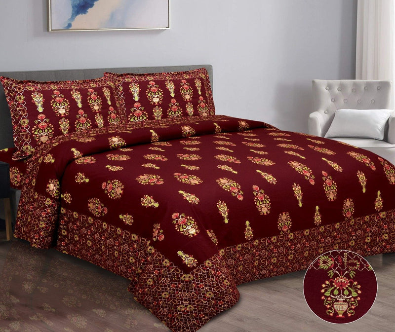 Cotton Gold Printed Red Double Bedsheet