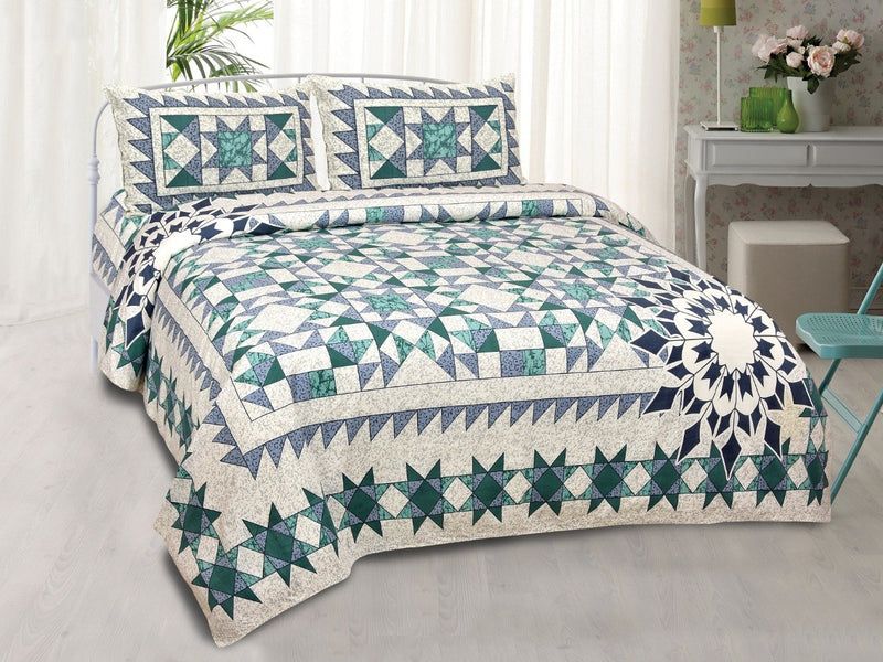 Cotton Printed Green White Double Bedsheet