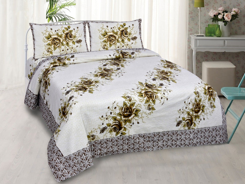 Cotton Printed Floral Green Double Bedsheet