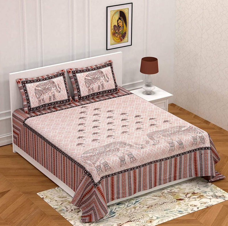 Cotton Pink Elephant Printed Double Bedsheet