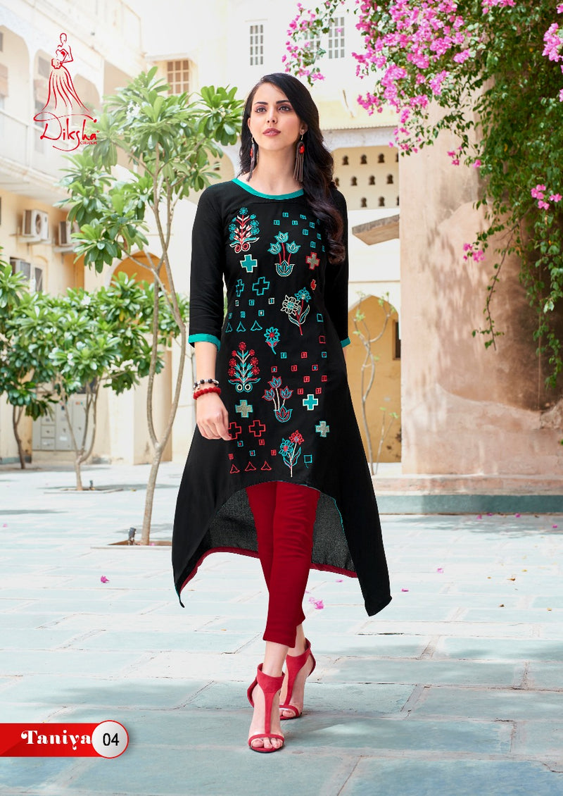 Black Rayon  cotton Embroidery kurti