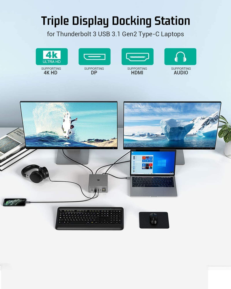 Tiergrade Laptop Docking Station, 16-in-1 Triple Display USB C Hub for Windows MacBook Thunderbolt 3 Systems (HDMI/DP/VGA/SD TF Card Reader/2USB-C/Gigabit Ethernet/Audio/Mic/5USB/60W PD Charging)