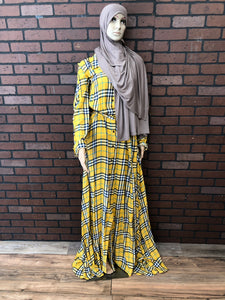Plaid Long Sleeve Maxi