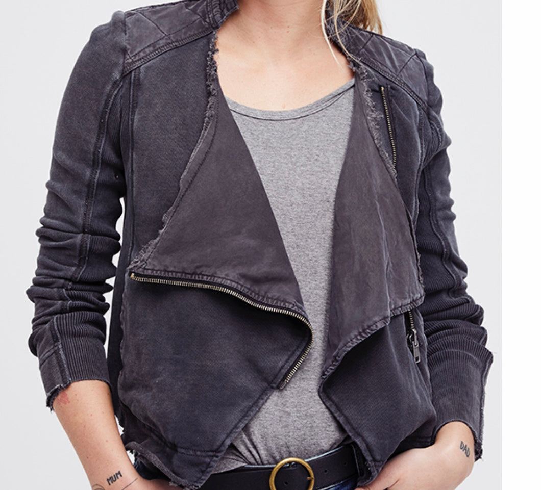 Free People SHRUNKEN MOTO CARDI