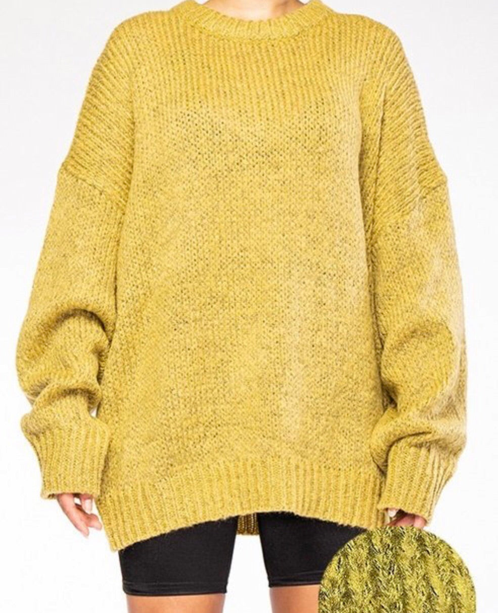 Mohair Heather Yarn Knit Sweater