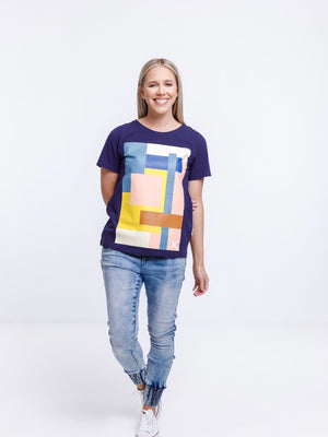 Home-Lee Taylor Tee-Evening Blue with Abstract Placement Print