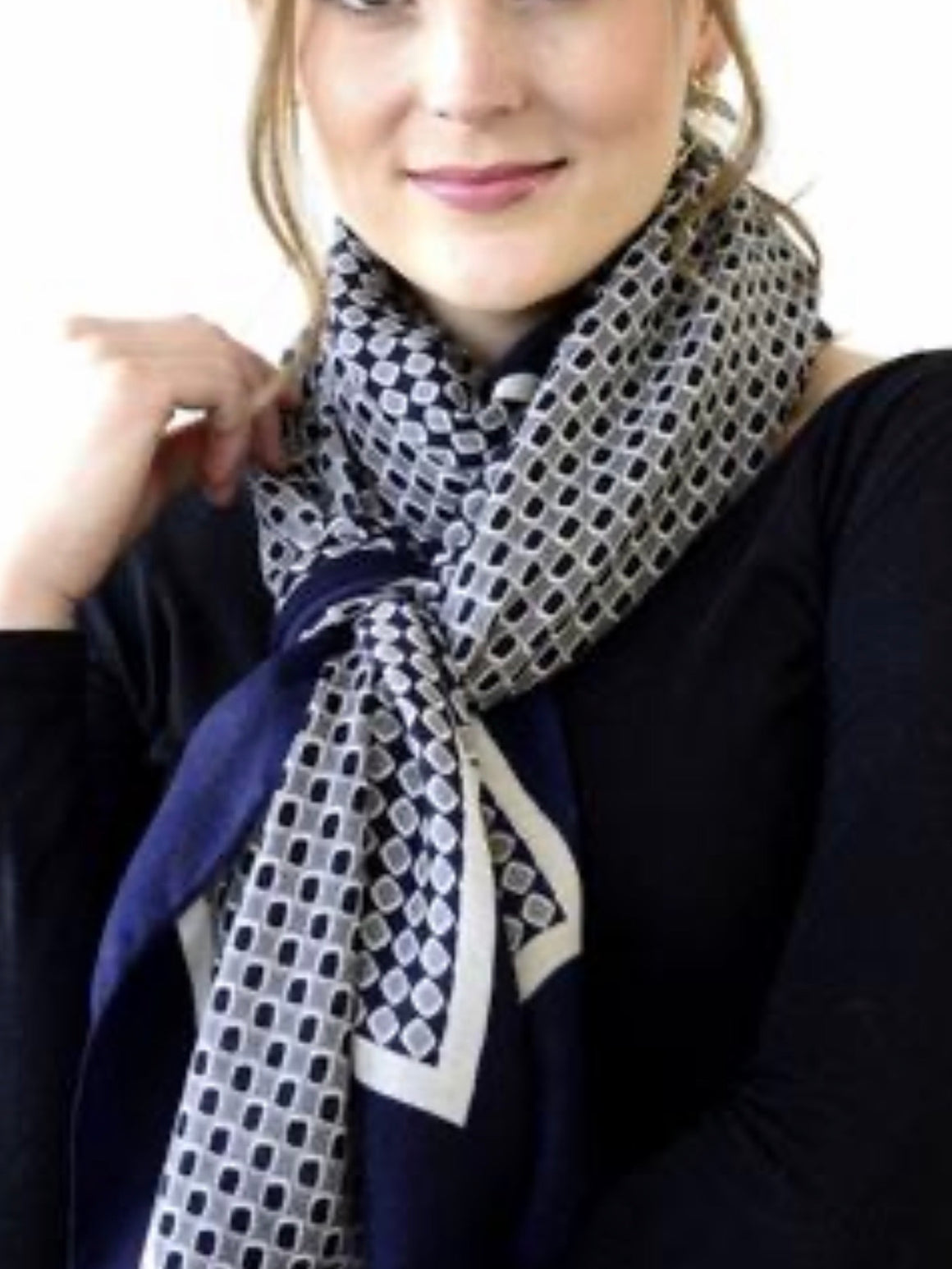 Archer House Diamond Scarf with Tassels-Navy, White & Grey - Trio Boutique Geraldine